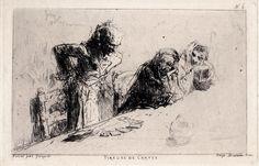 "M. Fortuny, ""Tireuse de cartes"", 1867. Etching and aquatint"