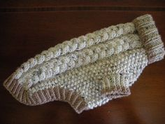 Dog Sweater - Braided Cable Knit - Oatmeal Tweed - Small - Ready to Ship Crochet Dog Clothes, Crochet Dog Sweater, Pet Sweaters, Knitting Patterns, Dog Items, Puppy Clothes, Dog Wear, How To Purl Knit, Dog Accessories