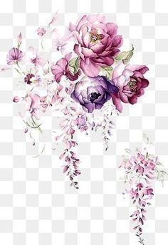 Tinta aquarela de Flores, Aquarela, Tinta, FloresPNG e PSD