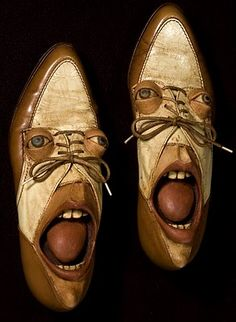 Artist Gwen Murphy turns old shoes into works of art by giving them faces. She uses ash clay and acrylic paint to create those bugged-out eyes ,dreary lids, pouty lips and long faces.