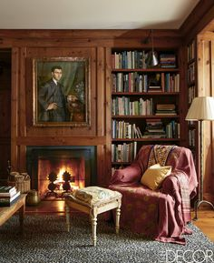 Trendy home library office english country 28 Ideas Cozy Home Library, Home Library Design, Home Interior Design, Interior Paint, Interior Rendering, Interior Livingroom, Modern Farmhouse Interiors, Farmhouse Design, White Farmhouse