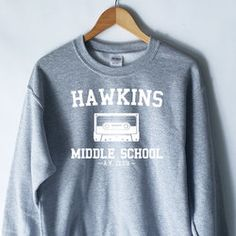 Hawkins Middle School Grey Crewneck Sweater