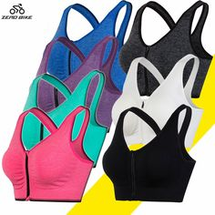 Cheap cycle cycles, Buy Quality cycling sports directly from China cycling vest Suppliers: ZERO BIKE Colors Women's Sports Bra No Steel Ring Zipper Yoga Tennis Running Fitness Sexy Seamless Vest Sports Bra Cycling Cycling Vest, Cycling Outfit, Cycling Base Layer, Running For Beginners, Women's Sports Bras, Running Workouts, Sport Wear, Workout Wear