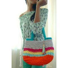 Tecendo Artes em Crochet: Bolsa de Praia com Fio de Malha - A Primeira que F...