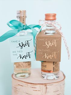 Take A Shot, We're Tying The Knot, Mini Alcohol Tags! Alcohol Wedding Favors, Unusual Wedding Favours, Tea Wedding Favors, Diy Wedding Gifts, Unique Wedding Favors, Wedding Ideas, Fall Wedding, Wedding Planning, Wedding Foods
