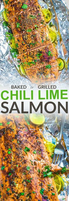 Chili Lime Salmon in tin foil (or parchment) is baked (or grilled) to tender, flaky perfection. Best of all, it's fresh, flavorful and super delicious! Comes together in less than 30 minutes and is just perfect for busy weeknights or lazy weekend cookouts! With sweet and tangy honey, lime and cilantro (or parsley) and the perfect tasty and healthy meal! Works for Sunday meal prep for work or school lunchboxes or lunch bowls.
