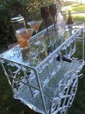 Vtg Wrought Iron 2-Tiered Glass Shelf Rolling Bar Wine Garden Cart Scroll Shapes Garden Cart, Rolling Bar, Tea Cart, Bird Cages, Glass Shelves, Wrought Iron, Rolls, Shelf, Wine