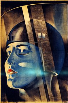 "Fritz Lang's Metropolis, movie poster, 1926 Poster for Fritz Lang's film ""Metropolis"" shows the character Maria in Rotwang's transformation machine. Signed ""Klebrand"", ca. 1926."