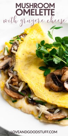 This mushroom omelette with Gruyere cheese is made from simple, fresh ingredients, it's easy to make, and delicious to eat! Naturally low carb, this recipe is keto friendly. Try it for a weekend brunch, or a quick and healthy meal anytime! Cheese Omelette, Omelette Recipe, Asian Recipes, Whole Food Recipes, Vegetarian Recipes, Healthy Recipes, Easy Recipes, Pescatarian Recipes, Recipes