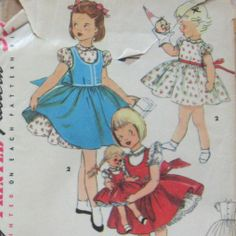 Vintage Toddler Girls Dress Pattern With Over by kalliedesigns, $8.50