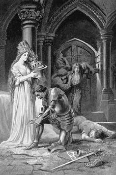 """""""Lancelot Arms Himself in Guinevere's Chamber"""" by Lancelot Speed.  """"But still the knights cried mightily without the door, 'Traitor, come forth.'""""]"""