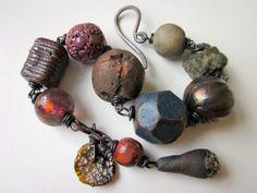 Say It Hot - primitive assemblage red violet cobalt blue raku beads, Basha bead, Roman glass, trade beads, pyrite, & copper charm bracelet by LoveRoot, $69.00