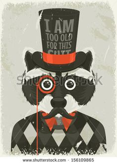 Old photo of hipster raccoon. Vector illustration. - stock vector