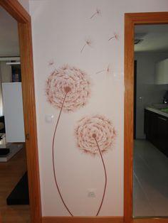 Dientes de leon pintados en pared Decor, Vinyl Wall, Wall Deco, Wall Decor, Pretty House, Wall Painting, Home Decor, Wall Design, Deco