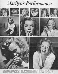 Marilyn in Life magazine - Eight girls try out mixed emotions. Photos by Philippe Halsman, 10 October, 1949.