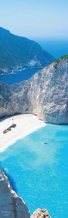 The only way you can get to this beach is by boat!  Shipwreck Beach...Zakynthos Greece