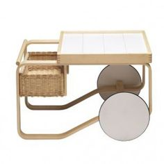Tea Trolley designed by Alvar Aalto for Artek, is a Finnish design classic with beautiful references to British tea culture as well as Japanese woodwork and architecture. Alvar Aalto created the tea trolley for the World Exhibition of Paris in Alvar Aalto, Rattan Furniture, Table Furniture, Furniture Design, Furniture Making, Luxury Furniture, Selling Furniture, Furniture Companies, Nordic Design