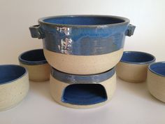 Conjunto para fondue em cerâmica com 6 peças