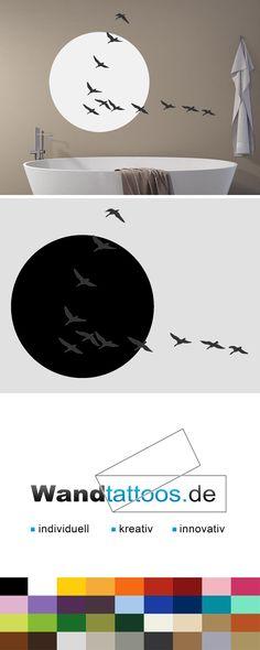 Wandtattoo Zugvögel im Sonnenlicht als Idee zur individuellen Wandgestaltung. Einfach Lieblingsfarbe und Größe auswählen. Weitere kreative Anregungen von Wandtattoos.de hier entdecken!