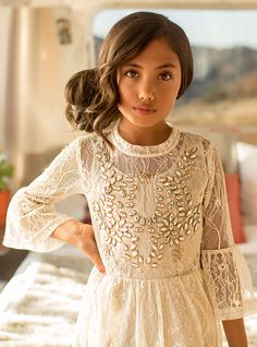 We cannot decide who is more stunning: the model or the dress! Joyfolie spring dresses are up on the website and the are must-see. ️ Create a dream spring wardrobe for your princess with our convenient layaway plans. #designerkids #fashion #ministyle #weddinginspiration #wedings #lace #vintagefashion #vintagewedding