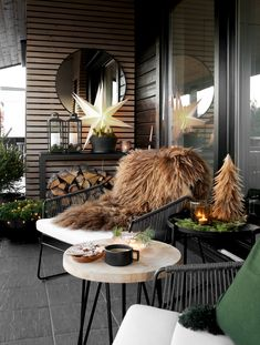 Therese Knutsen Christmas At The Terrace Small Balcony Decor, Balcony Design, Patio Design, Garden Design, Corner Pergola, Diy Pergola, Pergola Plans, Pergola Kits, Pergola Ideas
