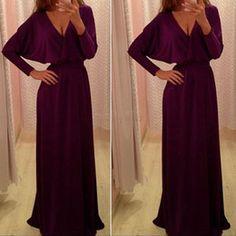 Плюс размер случайное платье длины пола для продажи-Плюс размер XL Женщины дамы Элегантная платья партии вскользь Batwing рукавами Sexy V-образным вырезом Макси Длинные Длина пола платье 31