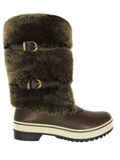 $295 UGG Australia Lilyan Stout Boots Water Proof Shearling Fur Buckles 5-  36