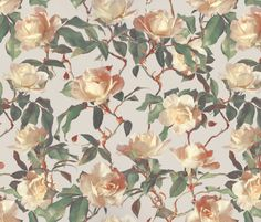 Soft Painted Vintage Roses fabric by micklyn on Spoonflower - custom fabric