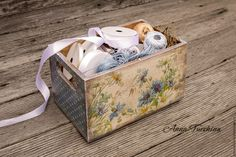 """Купить Короб """"Васильковый"""" - голубой, васильки, горошки, васильковый, короб для хранения, короб для кухни"""