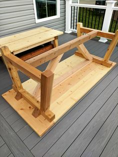 DIY- Farmhouse table build truss beam table outdoor table woodworking project table construction how to build an outdoor farmhouse table Ana White plans Restoration Hardware inspired knockoff farmhouse truss table assembled Outdoor Farmhouse Table, Farmhouse Table Plans, Diy Outdoor Table, Patio Table, Diy Table, Farmhouse Style, Farmhouse Decor, White Farmhouse, Farm Table Plans