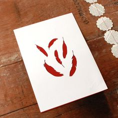 mr yen feathers papercut card