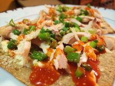 Buffalo Chicken Flatbread (THM FP) - Toast half a Lavash bread at 350 degrees until crispy. Spread 1 light Laughing Cow on the Lavash , top with chopped up rotisserie chicken, sprinkle with green onions, nutritional yeast and little Parmesan and then drizzled with Frank's. Put it back in the oven to heat up. KW - Made this for lunch during FP day of fuel cycle, used a Joseph pita instead and the spicy laughing cow, super tasty! From Jennifer Rhyne-Guerra Morris THM Facebook Post.