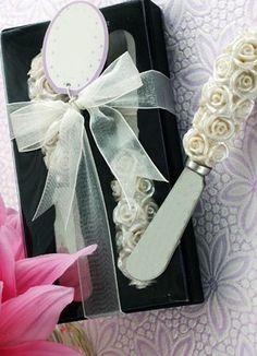 Ivory Resin Rose Butter Knife - Wedding Favors - Wedding