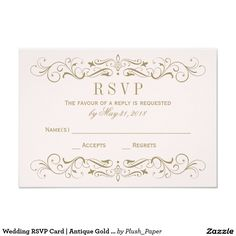 Wedding RSVP Card | Antique Gold Flourish