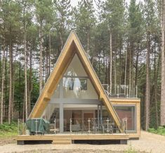 Striking A-Frame house in Norfolk woodland, just inland from the popular coastal village of Weybourne. A Frame House Plans, A Frame Cabin, Triangle House, Casa Loft, Tiny House Cabin, Wooden House, Cottage Homes, Cabin Homes, Log Homes