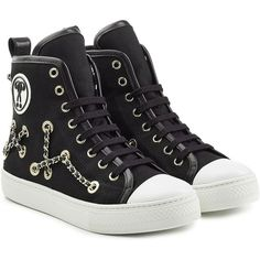 Moschino Chain Embellished High-Tops ($300) ❤ liked on Polyvore featuring shoes, sneakers, sapatos, black, black high tops, black high top sneakers, black trainers, leather high top sneakers and black sneakers