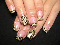 leopard and zebra nail art #nails