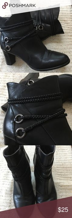 Black Ankle Booties Beautiful booties from Life Stride! Adorable braided details add an extra statement. They were created using man made materials. They were only worn once for a few hours and are extremely comfortable. Life Stride Shoes Ankle Boots & Booties