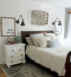 bedroom sconces. 55 Best Farmhouse Style Bedroom Design Ideas Reading light sconces over bed  Pinterest Lights