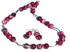 Beaded Necklace Earrings Set, Rain Flower Jasper, Burgundy Red Grey, Sterling Silver Findings