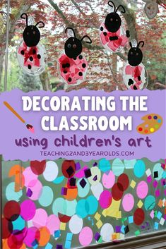 When you use items that the children have made to decorate a classroom, you are adding more personality to your environment. #art #decorate #classroom #banner #suncatcher #teachers #education #toddler #preschool #age2 #age3 #bulletinboard #teaching2and3yearolds Reggio Classroom, Classroom Layout, Classroom Bulletin Boards, Classroom Setting, Classroom Design, Classroom Organization, Classroom Management, Toddler Art, Toddler Preschool
