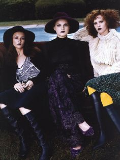 "US Vogue September 1999 ""A Gilded Age"" Models: Karen Elson, Guinevere van Seenus, Audrey Marnay             Photographer: Steven Meisel"