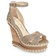Women's Jessica Simpson Ahnika Platform Wedge Sandal (445 SAR) ❤ liked on Polyvore featuring shoes, sandals, gold, cork shoes, platform wedge shoes, braided wedge sandals, cork wedge heel sandals and jessica simpson shoes