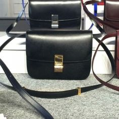 Free Shipping !Cheap 2015 Celine Bags Outlet-Celine Classic Bag in Black Smooth Calfskin Leather