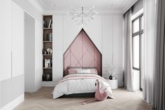 Grey neoclassical interior with colourful accents. A family home with unique kids rooms, a neoclassical style lounge, metallic kitchen, and a bijou dining room. Pink Headboard, Pink Bedding, Pink Bedroom Accessories, Neoclassical Interior Design, Design Hall, Kids Bedroom, Bedroom Decor, Gray Bedroom, Kids Rooms