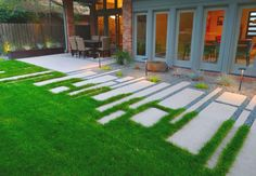 Modern Concrete Paver Walkway Ideas: Modern Concrete Walkway Partial Grass and Rock Concrete Patios, Concrete Walkway, Paver Walkway, Flagstone Patio, Walkway Ideas, Driveway Pavers, Backyard Walkway, Path Ideas, Concrete Molds