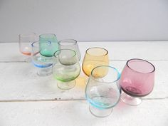 Vintage Glass Mini Snifters Cordials - Set of 8 Colorful Tinted Jewel Tone - Gorgeous Multi Colored.