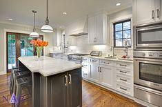 White Finished Cabinets. East Sac Tuxedo Kitchen. Nar Fine Carpentry. Sacramento. El Dorado Hills