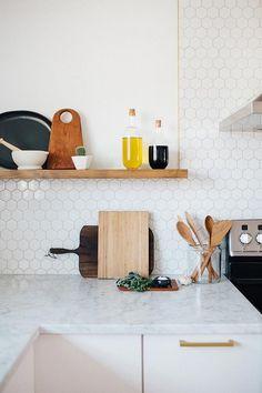 Azulejos hexagonales blancos para tu cocina