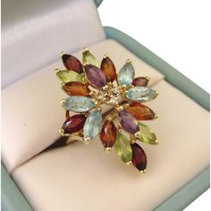 Estate Vintage 585 14K Multi Gemstone and Diamond Accent Spray Ring, Size 6-3/4